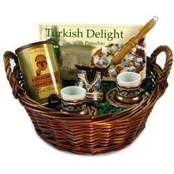 Turkish Coffee for 2 with Coffee & Turkish Delight Gift Basket
