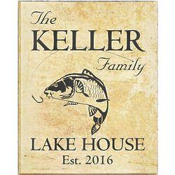 Family Lake Home Carp Personalized 18x24 Tan Canvas Print