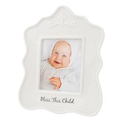 Bless This Child Glazed Ceramic Picture Frame