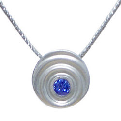 Blue Sapphire and Sterling Droplet Necklace