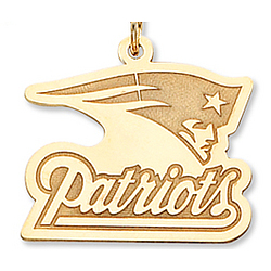 14k Yellow Gold New England Patriots Fine Logo Pendant