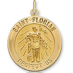 14k Yellow Gold Protect Us Carved St. Florian Medal