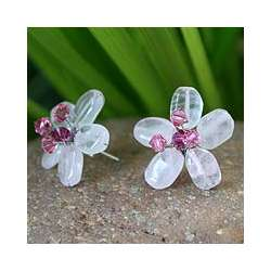 Crystal Flower Rose Quartz Button Earrings