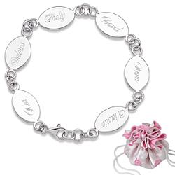 Sterling Silver Engraved Oval Family Name Bracelet