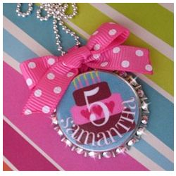 Personalized Happy Birthday Bottle Cap Necklace