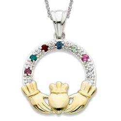 Platinum Plated Two-tone Family Birthstone Claddagh Pendant