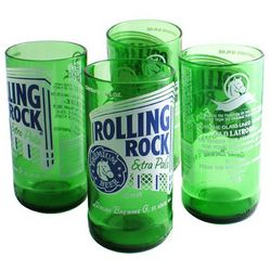 Recycled Rolling Rock Tumbler Glasses
