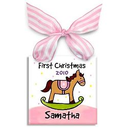 Baby Girl's First Christmas Rockin' Horse Ornament