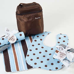 Blue and Chocolate Baby's Meal Time Gift Set