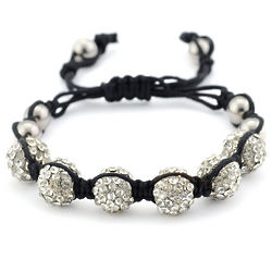 Shamballa Pave Crystal and Silver Bead Bracelet