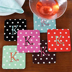Polka Dot Monogram Personalized Coasters