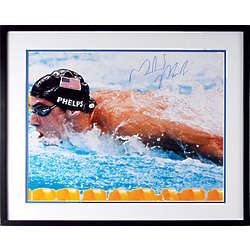 King of Rings Michael Phelps Framed Autographed Photo