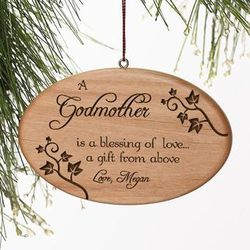Personalized Blessings of Love Wood Christmas Ornament