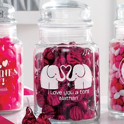 Personalized Elephants Valentine Treat Jar