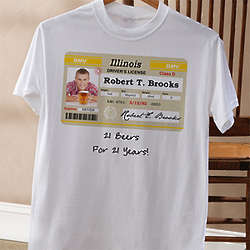 Driver's License Personalized Birthday White T-Shirt