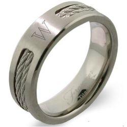 Men's Titanium Double Cable Ring