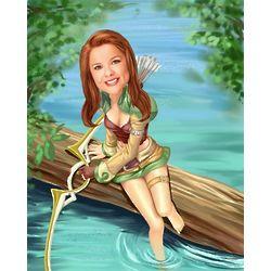 Female Archer Personalized Caricature Art Print