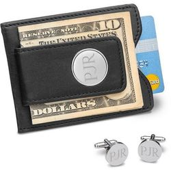 Engraved Black Leather Wallet and Classic Round Cufflinks Set
