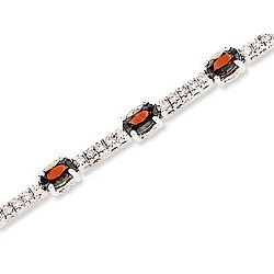 14K White Gold Oval Ruby and Diamond Tennis Bracelet