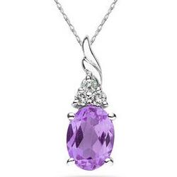 Oval Amethyst and Diamond Pendant in 10k White Gold
