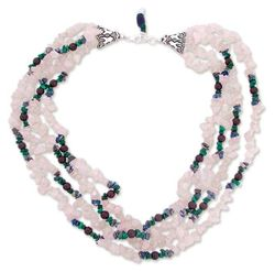 Harmony Rose Quartz and Lapis Lazuli Torsade Necklace