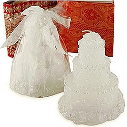 White Wedding Cake Candle Favor