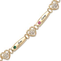 Mother's Crystal Cross Heart Name & Birthstone Bracelet