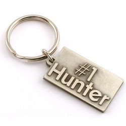 Engraved #1 Hunter Pewter Key Chain