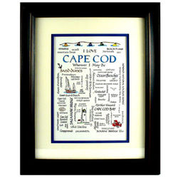Framed Cape Cod Calligraphy Sampler