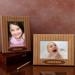Personalized Pin Stripes Wooden Picture Frame
