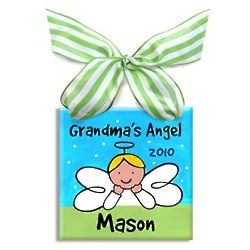 Grandma's Little Angel Ornament for Boy