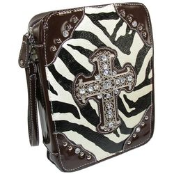 Crinkled Zebra Print Bible Cover with Silver Cross