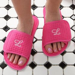 Monogram Personalized Pink Waffle Weave Spa Slippers