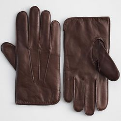 Men's Brown Leather and Cashmere Gloves