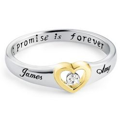 Sterling Silver Diamond Accent Heart Couple's Ring
