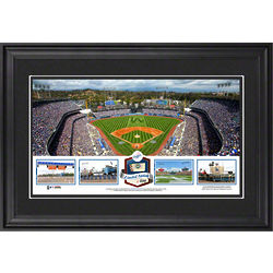 Dodgers Framed Panoramic Print with Game-Used Ball