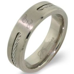 Men's Cabled Titanium Graduation Class Ring