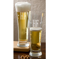 Personalized Pilsner Glasses with Engraved Monogram