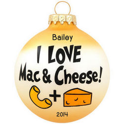 I Love Mac and Cheese Glass Ball Ornament