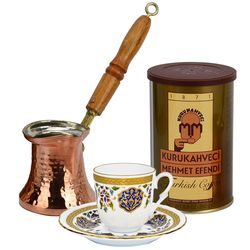 Turkish Coffee Set for 1 with Armor Cup & Mehmet Efendi Coffee