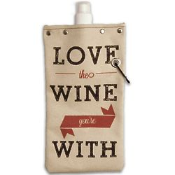 Love The Wine You're With Canvas Wine Tote