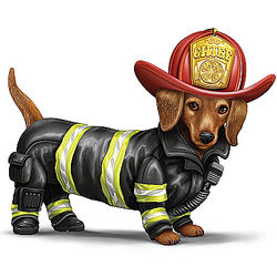 Firefighter Dachshund Figurine with Real