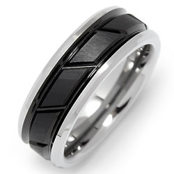Men's Patterned Matte Black and Tungsten Ring