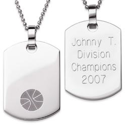 Stainless Steel Engraved Basketball Dog Tag Pendant