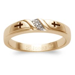 Ladies 18K Gold Plated Diamond Cross Engraved Wedding Band