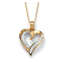 10k Gold Diamond Heart-Shaped Pendant with Chain