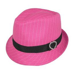 Pinstripe Fedora with Heart Accent