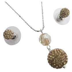 Pave Ball Pendant Necklace and Stud Earrings