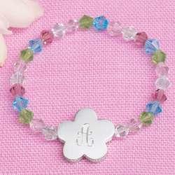 Engraved Colorful Crystal Flower Girl Bracelet
