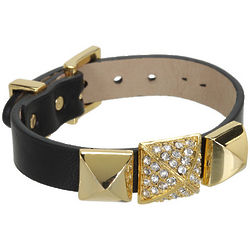 Juicy Couture Pave Stud Leather Cuff Bracelet